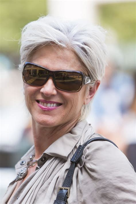 short silver hairstyle called celebrating women with fabulous short gray hairstyles