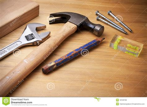 tools and equipment in woodworking tools on wood background stock image image of hammer