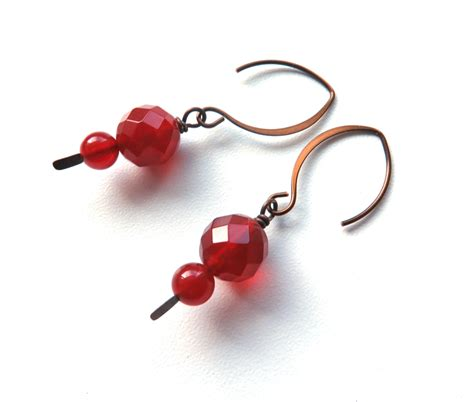 Earrings Australia Handmade - carnelian rust colour dangle handmade earrings australian