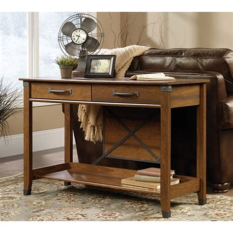 cherry sofa table with storage sauder carson forge washington cherry storage console