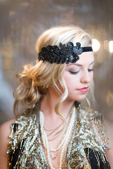 hairstyles with haedband accessories video 1920s hair accessories black beaded sequin headband 1920