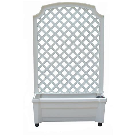 White Trellis Planter by Calypso 31 In X 13 In White Plastic Planter With Trellis And Water Reservoir 1 416 The Home