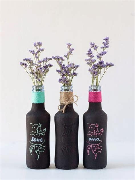 decoracion floreros de cristal decora con botellas de cristal y flores decoraci 243 n de