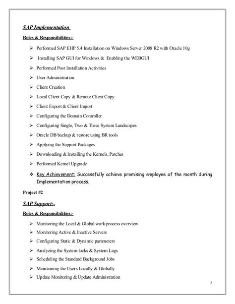 sle cv sap basis consultant mubashir ahmed erp sap basis consultant resume with 3 yr exp
