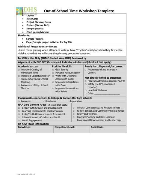 Workshop Template Structured Activities 101 Planning Projects Workshop Planning Template