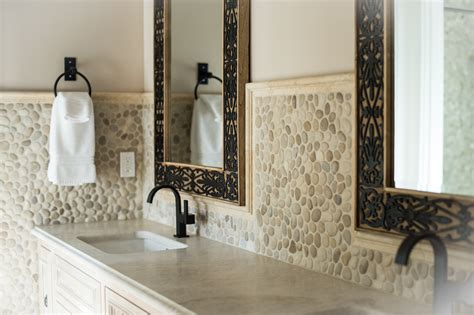 java tan pebble tile high end bathroom backsplash and