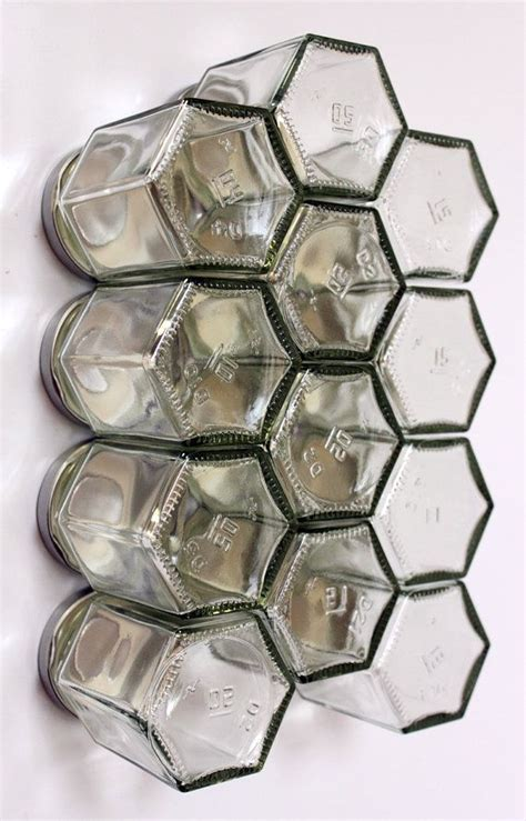 diy hexagonal spice rack honeycomb magnetic glass jar storage set 12 empty hexagonal bottles and labels spice rack