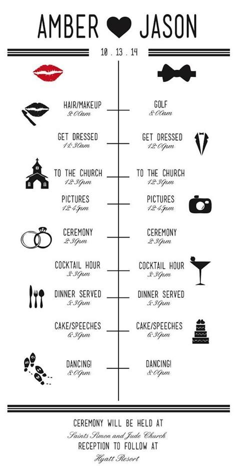 Wedding Reception Timeline Planning Guide   Stationery