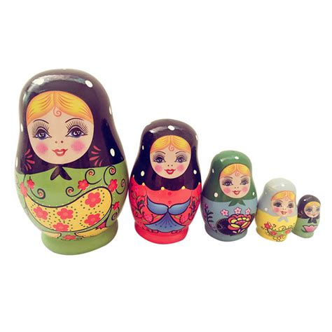 matryoshka 5 in 1 wooden russian painted nesting