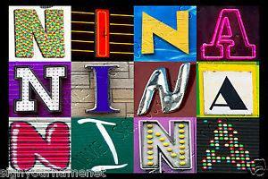 nina names encyclopedia nina name poster photos of sign letters large ebay