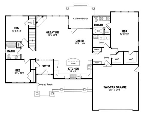 Split Ranch House Plans by Plan 19530jf Split Bedrooms For Privacy Craftsman Ranch