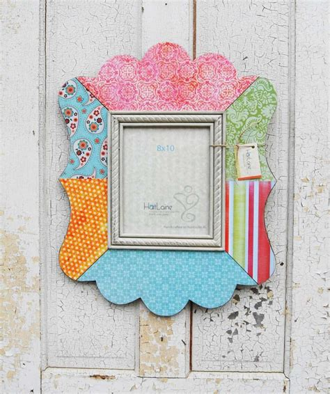 Decoupage Picture Frames - 8x10 decoupage scalloped picture frame pinks blues