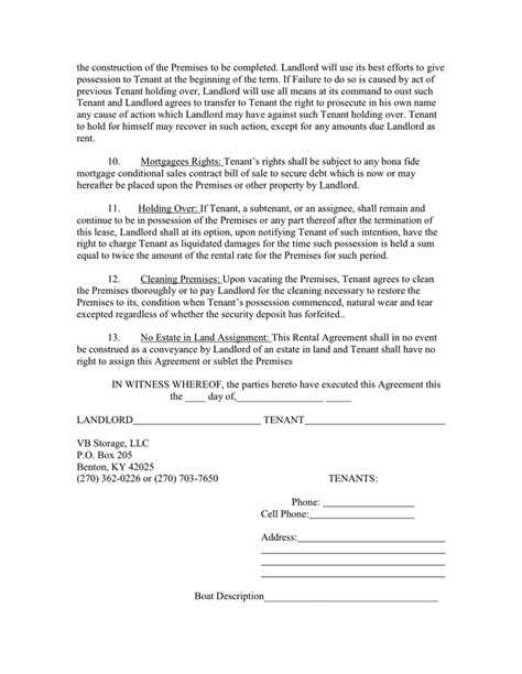 Storage Space Rental Agreement In Word And Pdf Formats Page 3 Of 4 Storage Space Lease Agreement Template