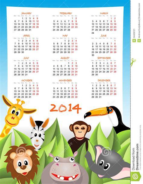 Calendario Animales Calendar 2014 With Safari Animals Stock Image Image