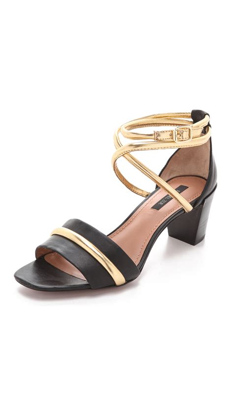 heeled sandal zoe montana low heel sandals in black lyst