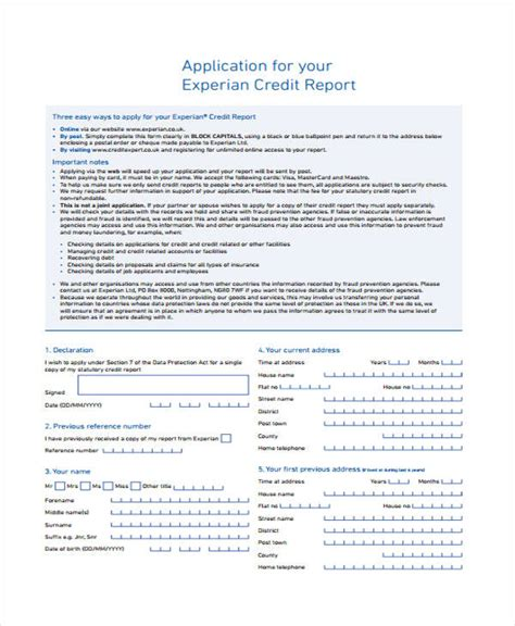 Credit Information Report Format 21 Free Credit Application Forms