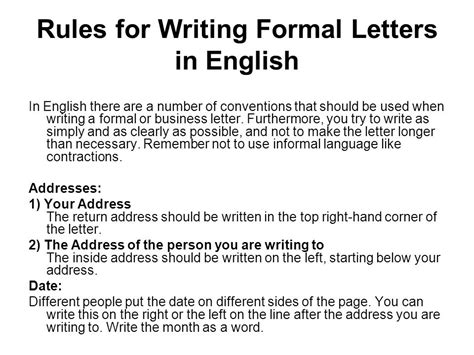 When Writing A Business Letter You Should Not Punctuate The Salutation writing a formal letter ppt