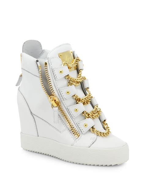 hi top wedge sneakers lyst giuseppe zanotti chains leather wedge high top