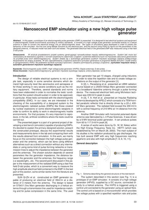 high voltage pulse generator pdf pdf nanosecond emp simulator using a new high voltage