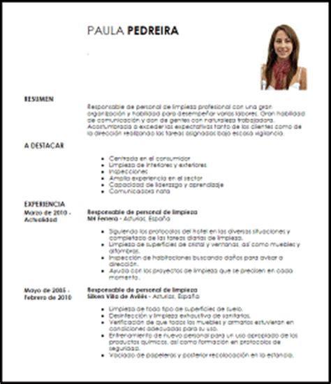 Curriculum Vitae Modelo Expectativas Y Aspiraciones Modelo Curriculum Vitae Responsable De Personal De Limpieza Livecareer