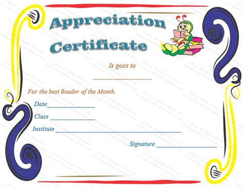 certification of appreciation templates reader certificates