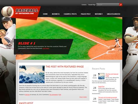 themes wordpress free sport baseball free wordpress theme