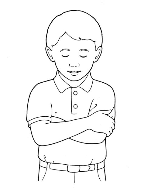 coloring page boy praying primary boy folding arms and bowing head