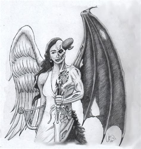 angel and demon tattoo drawings angel demon tattoo concept by archetypical g on deviantart