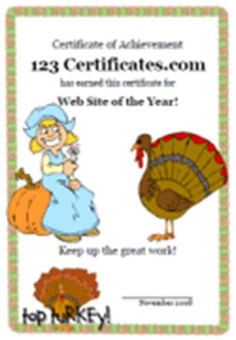 Thanksgiving Certificate Templates And Award Designs Turkey Voucher Template