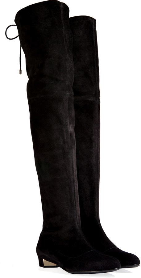 suede the knee flat boots in black shops flats and
