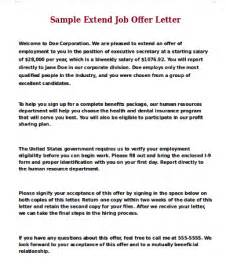 Extend Offer Letter offer letter sle 9 exles in word pdf