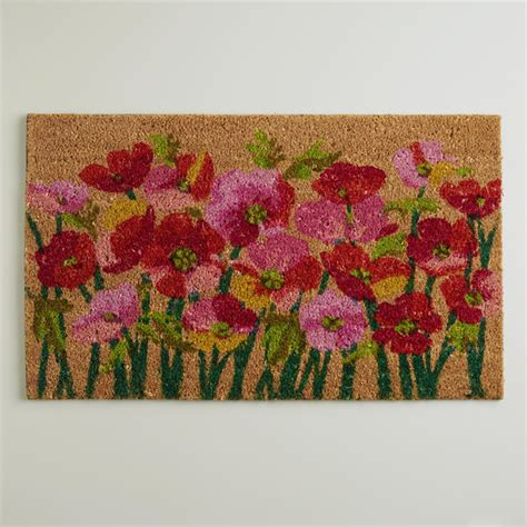 modern doormats modern pink poppies doormat coconut husk contemporary doormats by cost plus world market