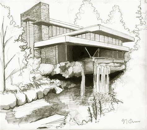 original drawings frank lloyd wright fallingwater fallingwater house by naokosstoop via flickr croquis e