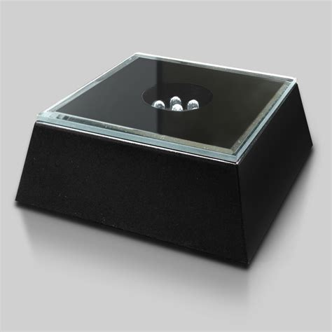 black mirrored lighted square base crystal d