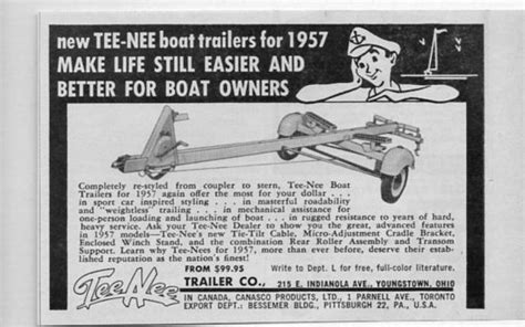 boat trailers youngstown ohio 1957 vintage ad tee nee boat trailers youngstown ohio ebay