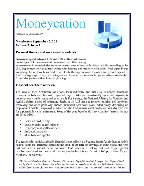 Personal Finance Newsletter personal finance and nutrition