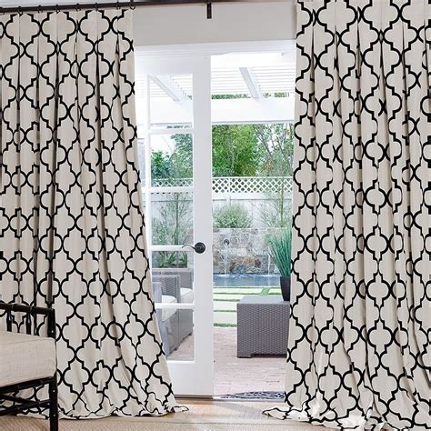 Black And White Lattice Curtains Geometric Custom Drapes White Trellis Iron Gates And Iron