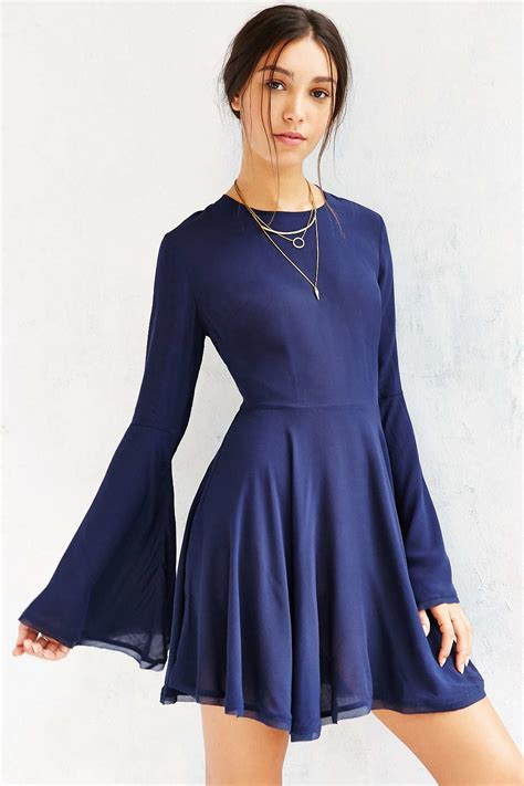 Bell Sleeves Dress lyst ecote sascha bell sleeve dress in blue