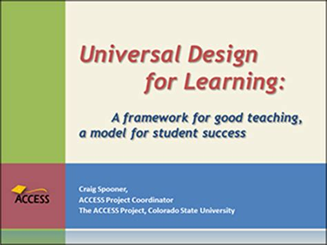 universal design for learning powerpoint udl a framework for good teaching a model for student