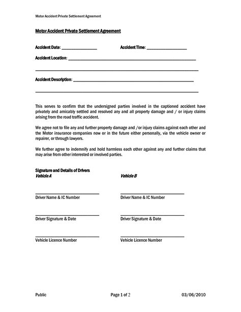 out of court settlement agreement template car settlement agreement form templates doc