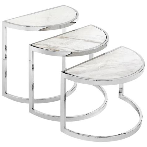 Half Moon Side Table Half Moon Side Table Set Of Three With White Marble Top Or Glass Top For Sale At 1stdibs