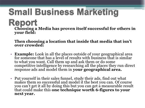 how to write a marketing report sle small business marketing report