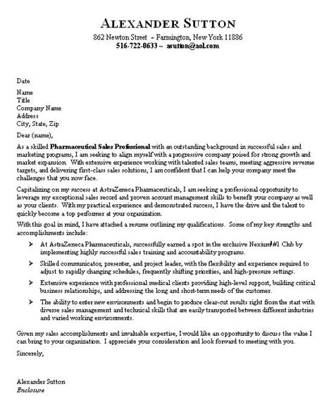 Pharmaceutical Sales Cover Letter professional sales cover letters for resumes