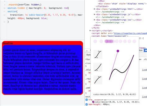 javascript flex layout html adding css transition or javascript animation to