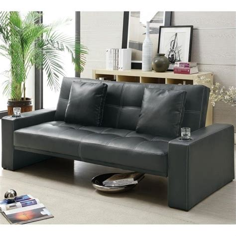 Coaster Sofa Sleeper Coaster Sofa Sleeper With Cup Holders In Black 300125