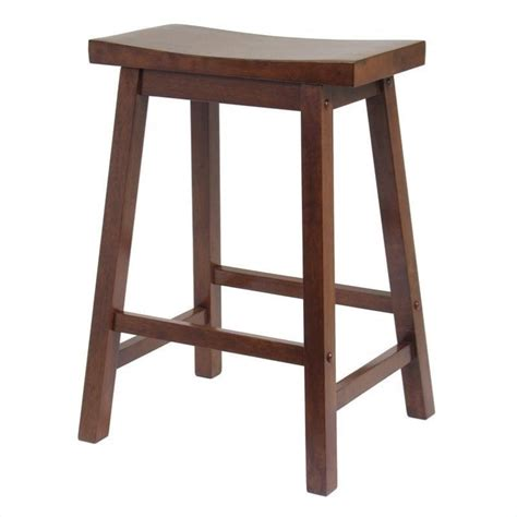 Wood Saddle Stools 24 quot counter saddle stool in antique walnut 94084