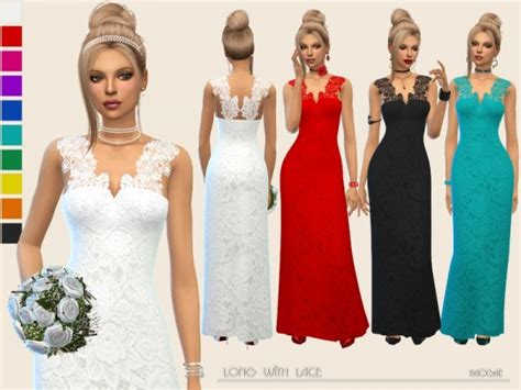 Longdress Margarita Cc the sims resource dress with lace by paogae sims 4