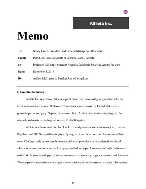 Memo Format Executive Summary athleta marketing plan pdf