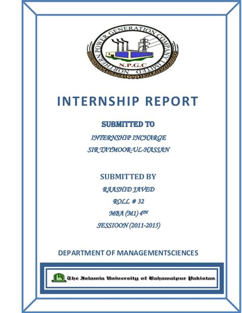 Ge Mba Internship Program by Internship Report Of Genco 3 Wapda Muzafar Garh