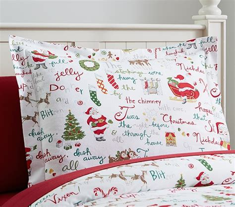 kids christmas bedding twas the night before christmas flannel standard sham pottery barn kids